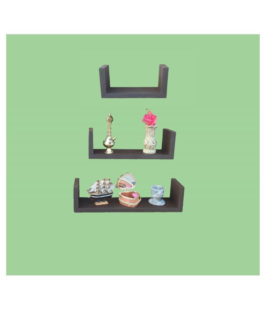 TFS Floating Shelves Brown Wood - Pack of 3