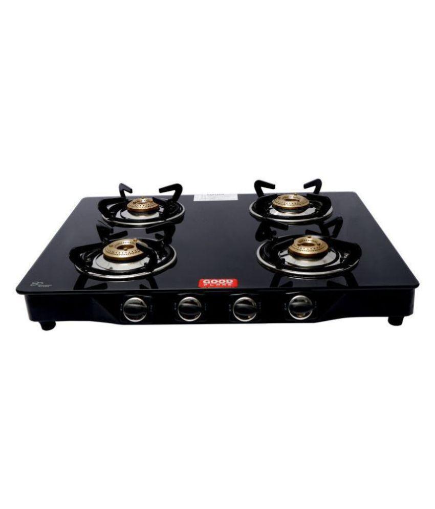 goodflame 4 burner ms blk regular gas stove with cast iron burner