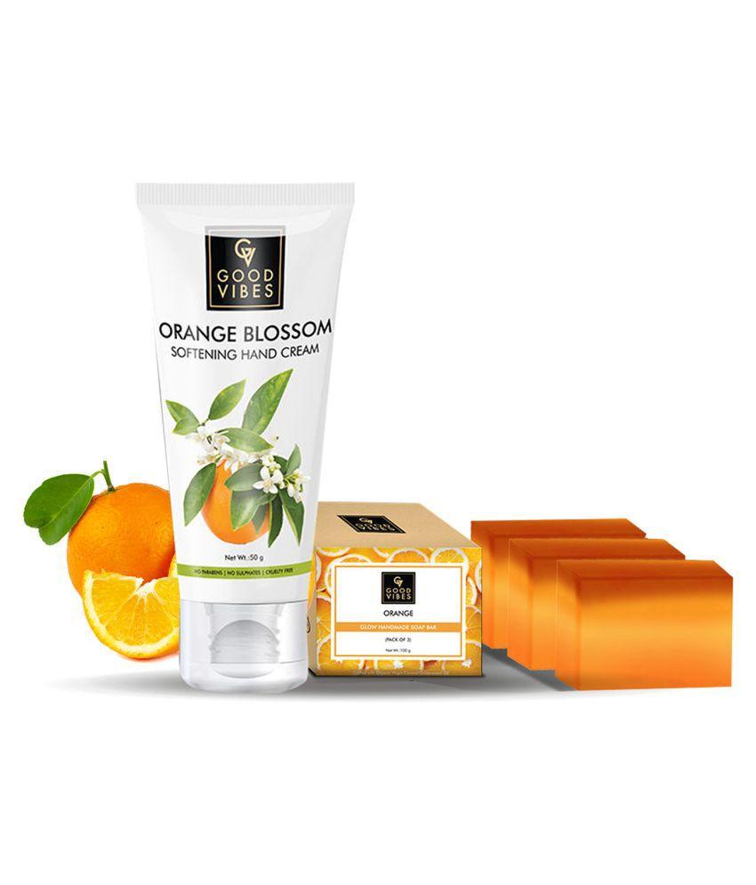 Good Vibes Orange Blast Body Care Combo Kit (Soap 100g*3 + Hand Cream 50g)