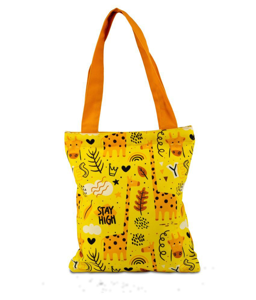Planet Earth Yellow Canvas Tote Bag