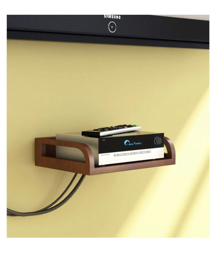 AYMH Brown Wooden Holdable Designer Wall Shelf, Wall Mount Stand, Wooden Holder for Set top Box