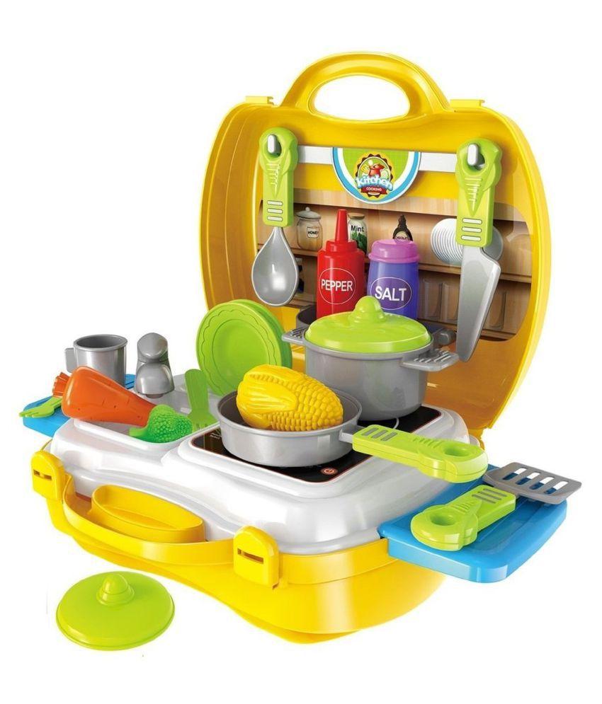 VBE Kitchen Set Toy for Kids Suitcase Cooking Kitchen Set Toy for Children Role Play Toy for Girls 26 PCs