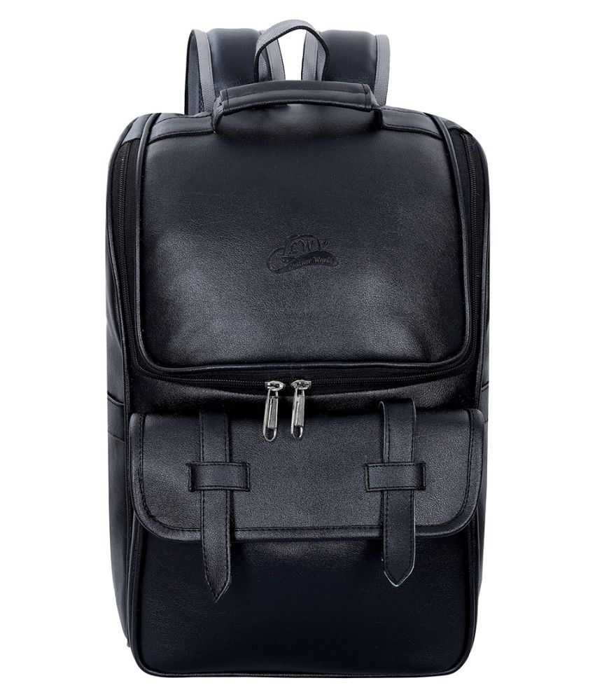 Leather World Black Leather College Bag