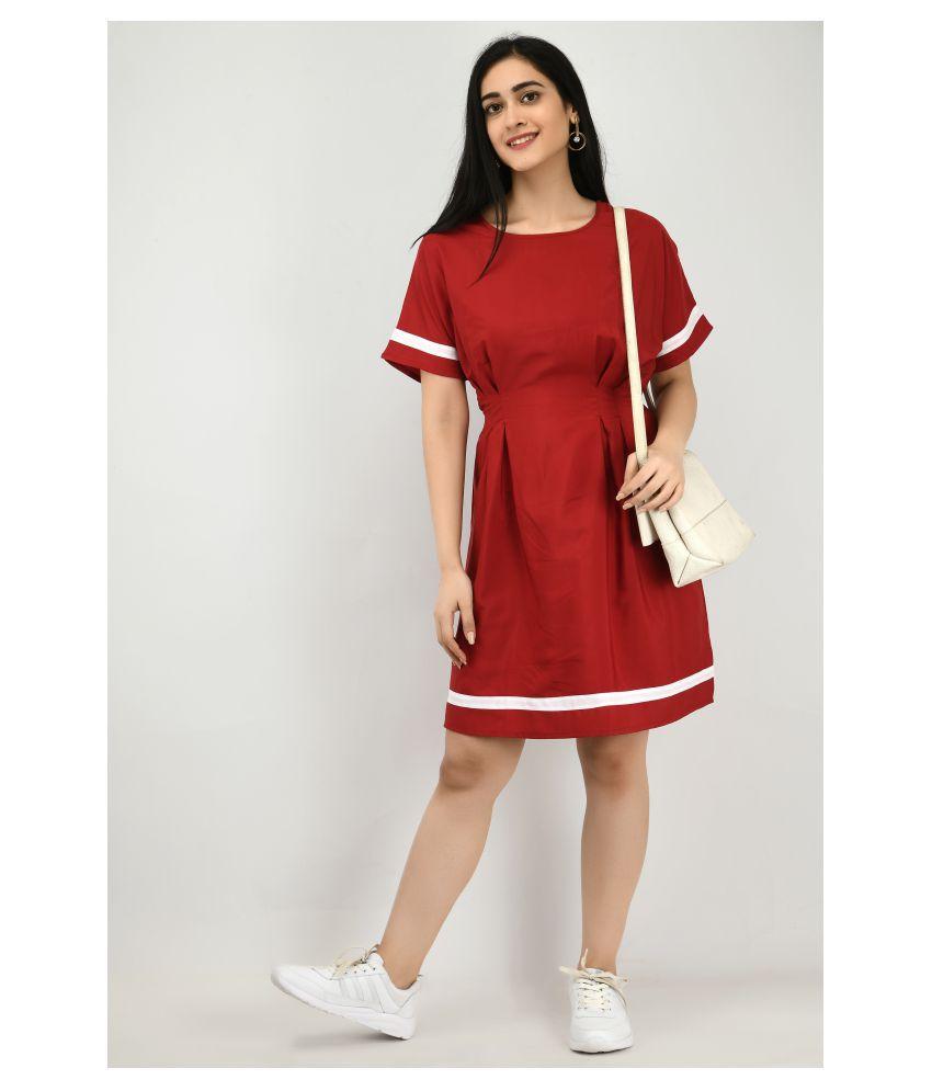 ALISHA_FASHION Crepe Maroon A- line Dress