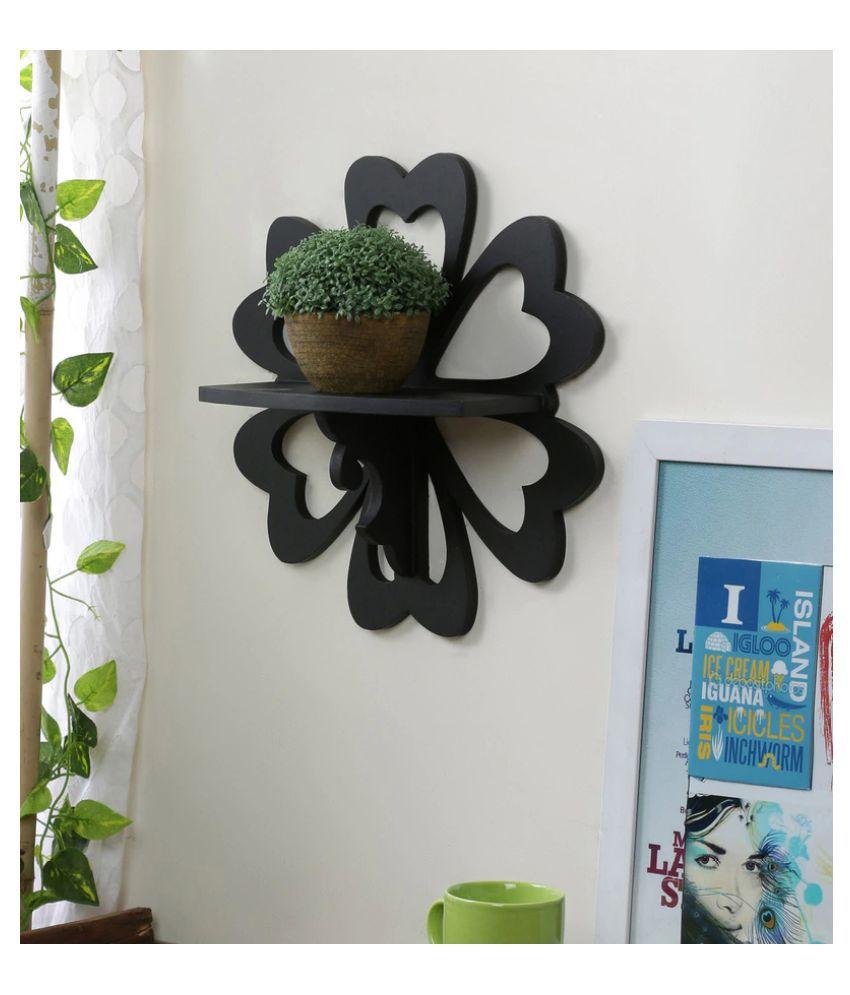 AYMH Black Flower Shaped Wooden Designer Wall Shelf, Wall Mount Stand