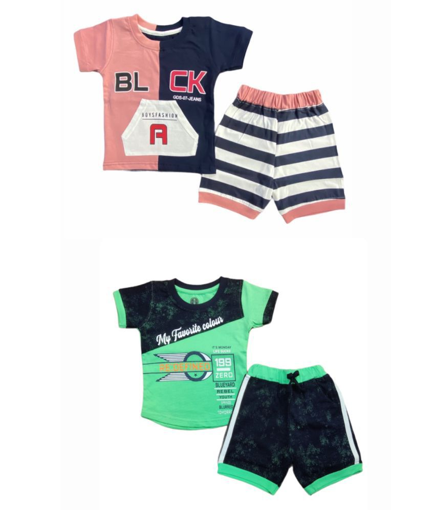 Cot-n-Tales Boys Printed T-shirt with Shorts, Pack of 2