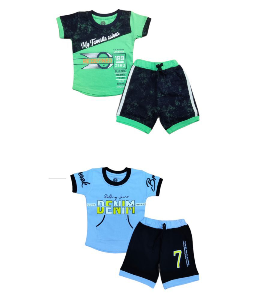 Cot-n-Tales Printed T-shirt and Shorts Pack of 2