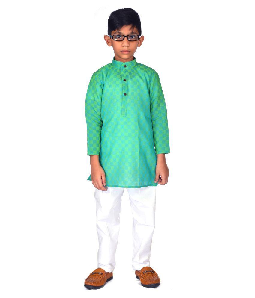 Latest Trendy Boy #039;s Kurta and White Pajama Set