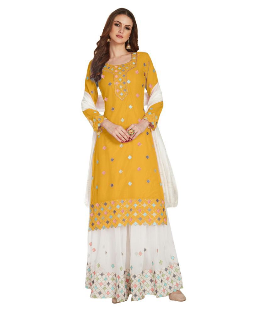 THE 9192 Yellow Georgette A-line Semi-Stitched Suit