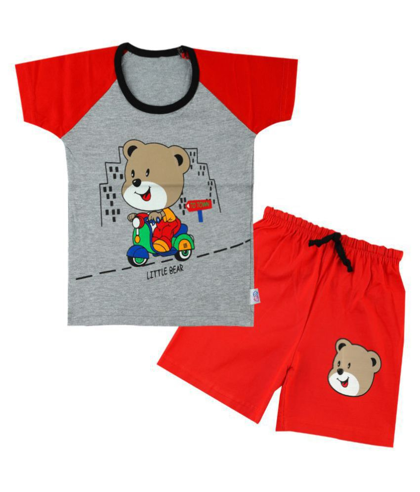 CATCUB Boy's & Girl's Cotton  Printed Clothing Set (Red)