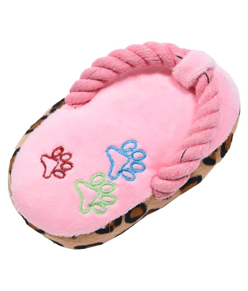 KUTKUT Sleeper Shape Squeaky Plush Toy With Rope For Puppy and Small Dogs and Cats