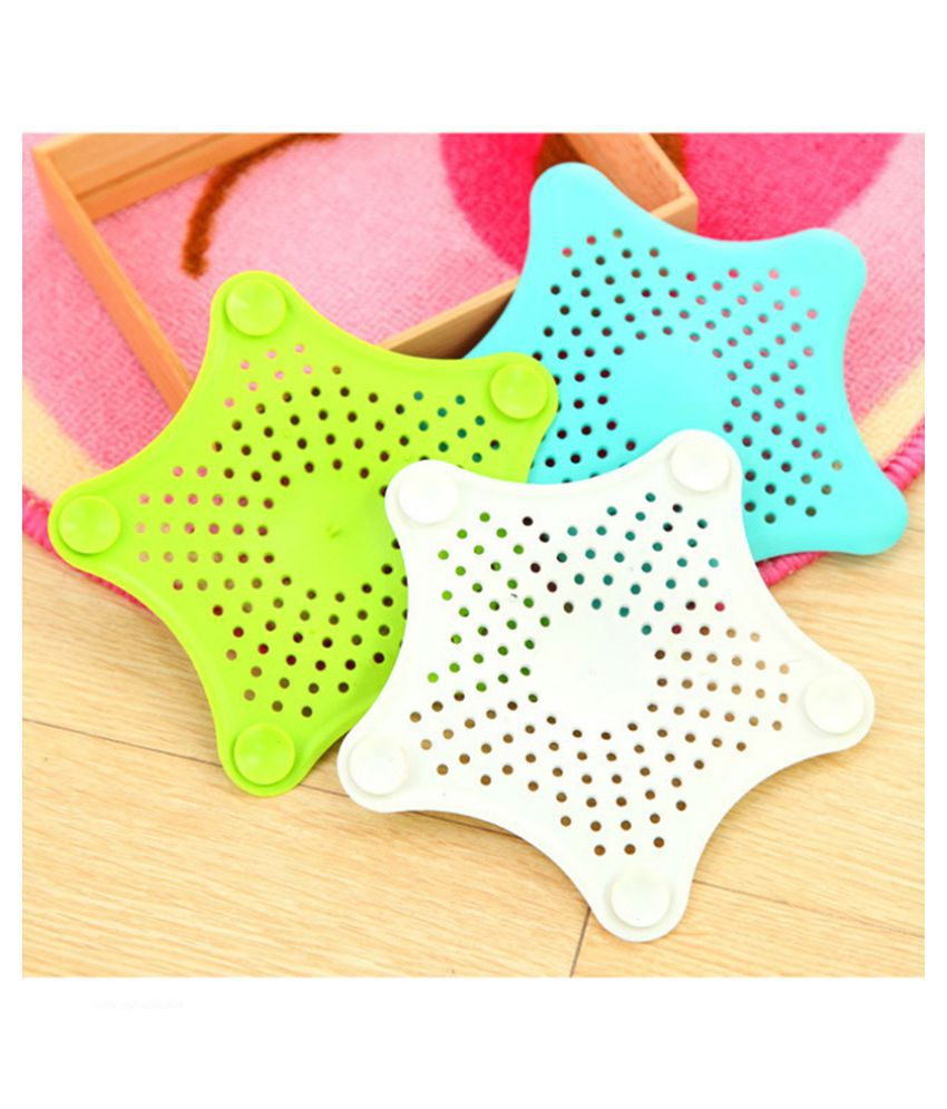 Silicone Star Shaped Sink Filter Bathroom Hair Catcher Drain Strainers for Basin, 12 X 12 Cm (Approx)