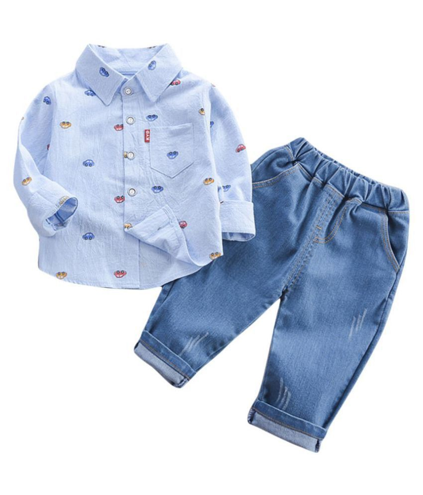 Hopscotch Boys Cotton And Spandex Full Sleeves Art Printed Shirt And Jeans Set in Blue Color For Ages 3-4 Years (DYZ-3411770)