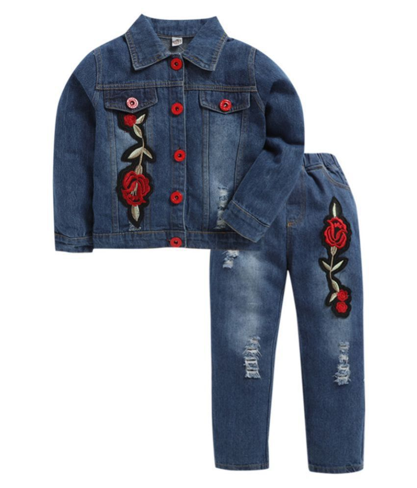 Hopscotch Girls Cotton, Polyester, . Viscose And . Spandex Floral Print Jacket And Jeans Set in Blue Color For Ages 7-8 Years (TXZ-1984454)