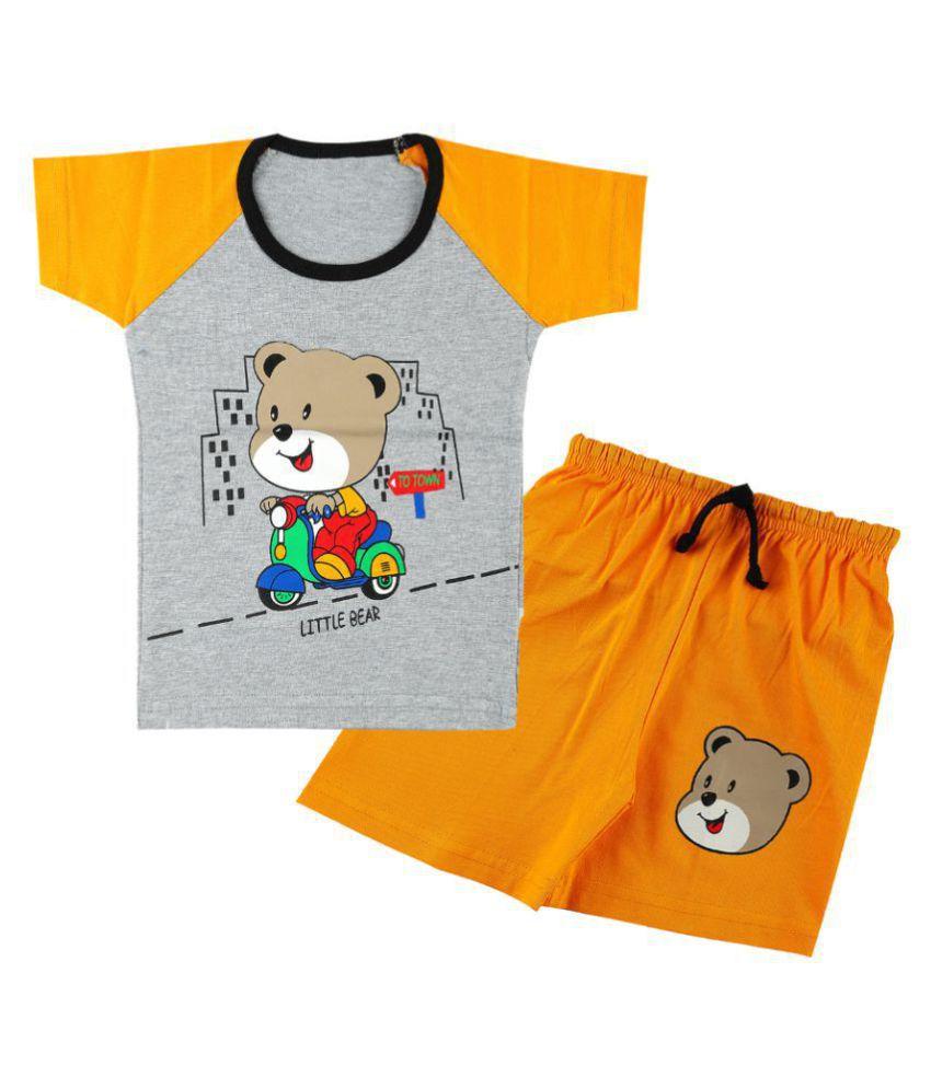 CATCUB Boy's & Girl's Cotton  Printed Clothing Set (Yellow)