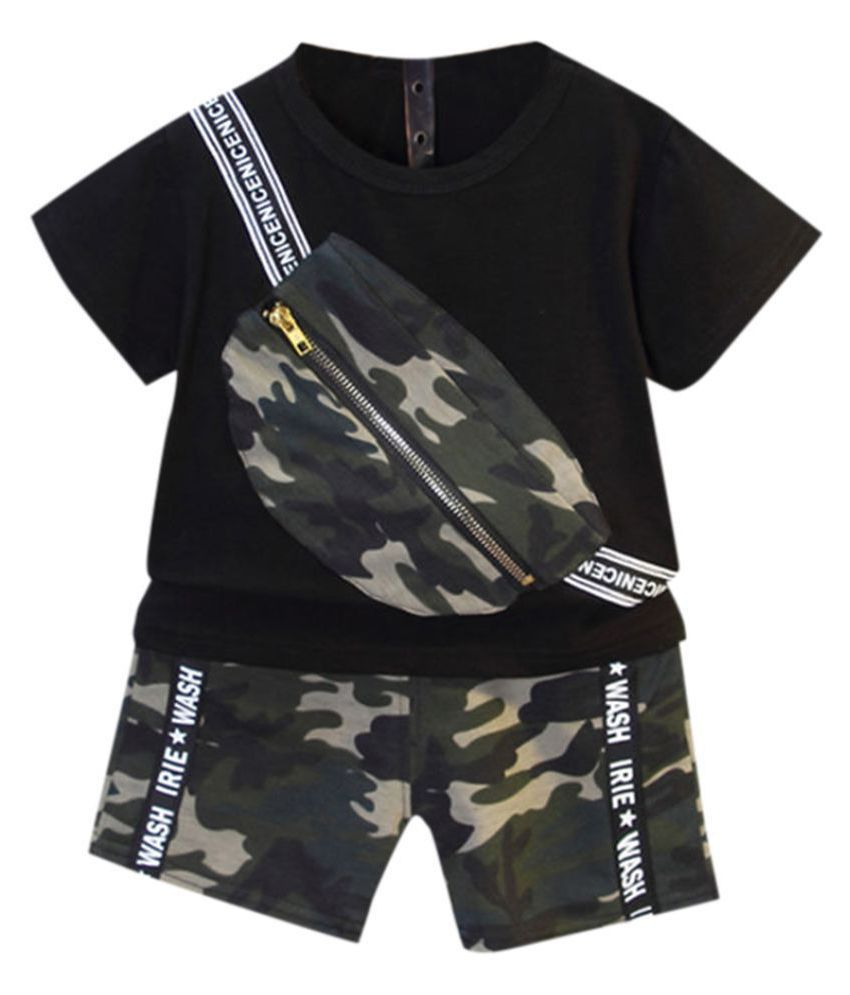Hopscotch Boys Cotton Polyster Half Sleeves Applique Solid T-Shirt and Short Set in Black color for Ages 2-3 Years (BD9-3410831)