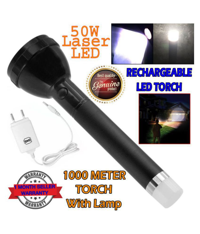 New 2 in 1 Rechargeable Battery Penlight Waterproof Light Led Flashlight Torch 10W Flashlight Torch Zoomable Flashlight - Pack of 1
