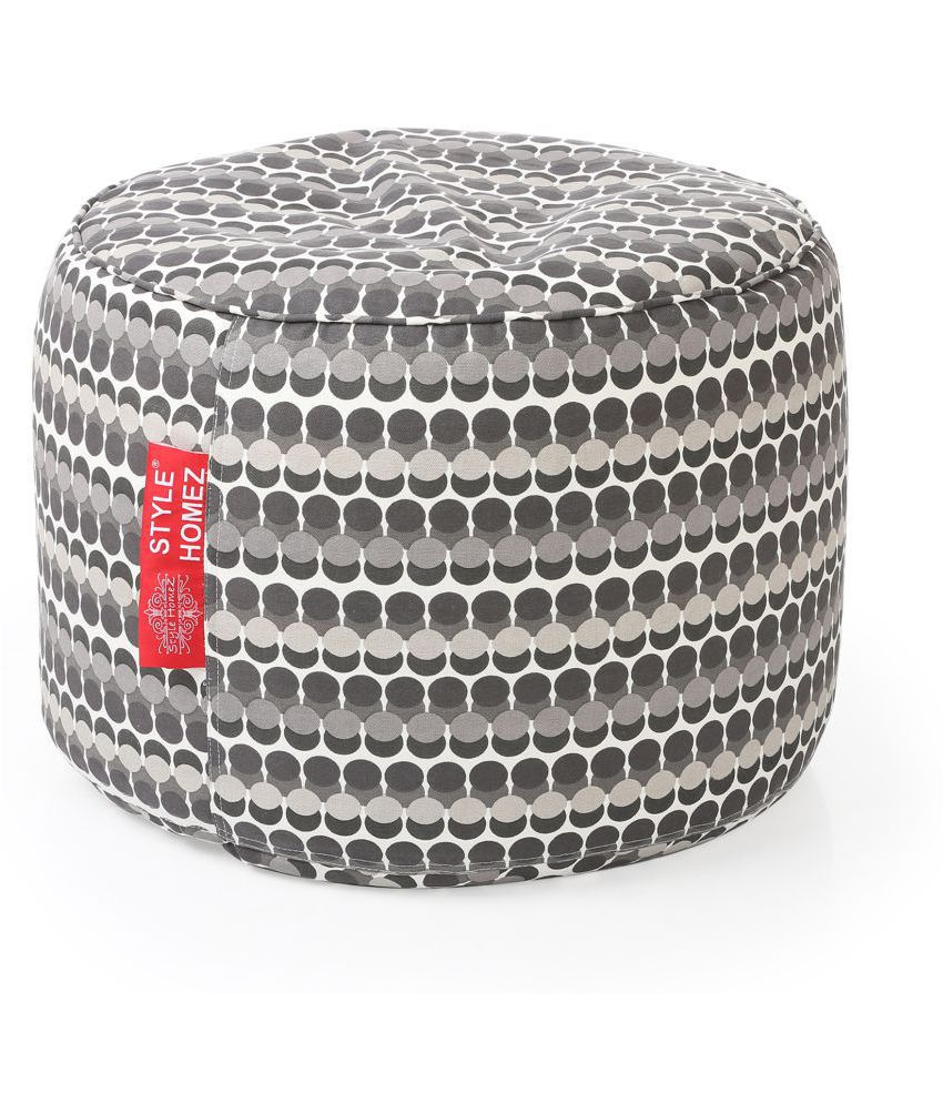 Style Homez Round Cotton Canvas Polka Dots Printed Bean Bag Ottoman Stool Large Cover Only, Grey Color