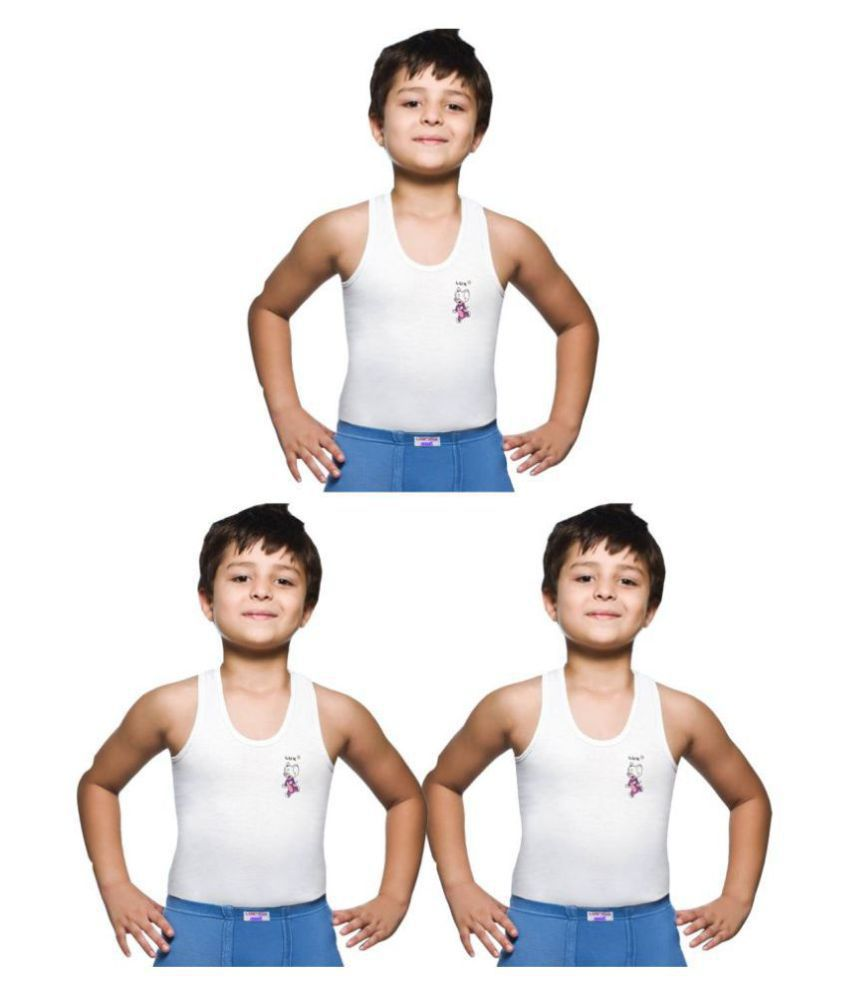 Lux Venus Cotton Scoop Neck Sleeveless White Vest for Boys   Pack of 3