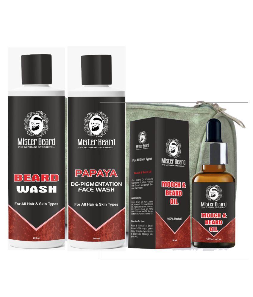 MISTER BEARD Beard wash, Mooch Oil Free Bag And Papaya Face Wash 200 mL Pack of 3