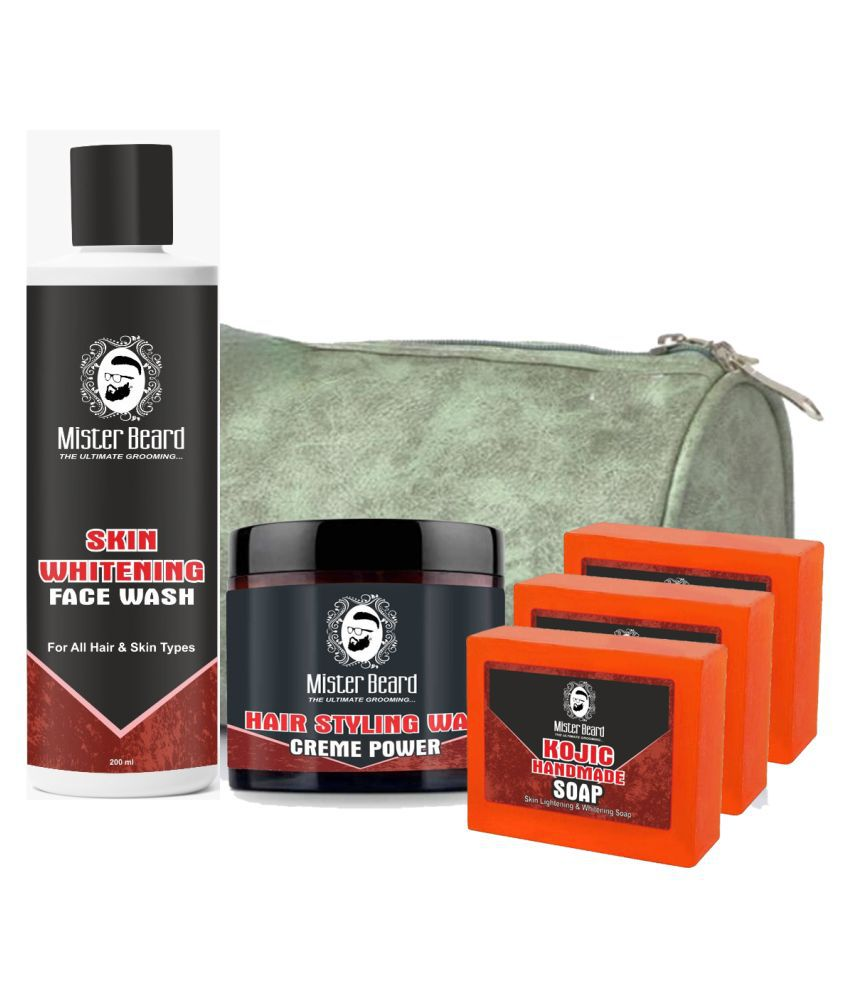 MISTER BEARD Hair Wax Crème Power,Kojic Soap Free Bag,Skin Whitening Face Wash 200 mL Pack of 5