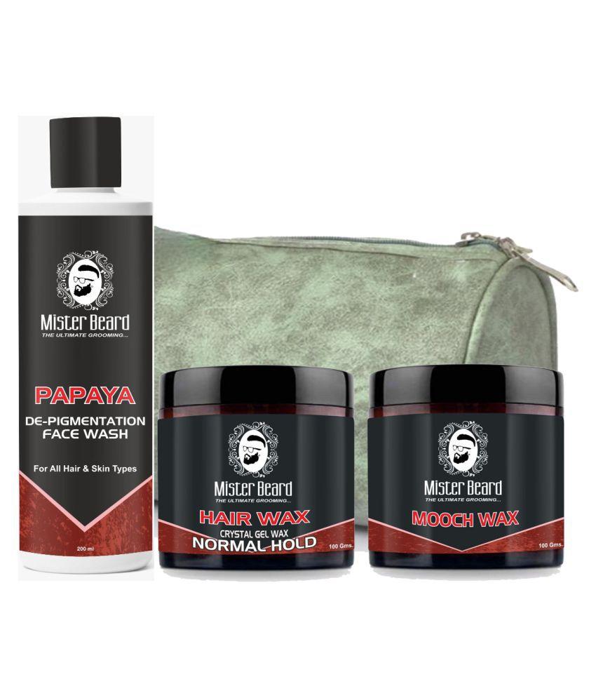 MISTER BEARD Hair Wax Normal Hold,Mooch Wax Free Bag,Papaya Face Wash 200 mL Pack of 3