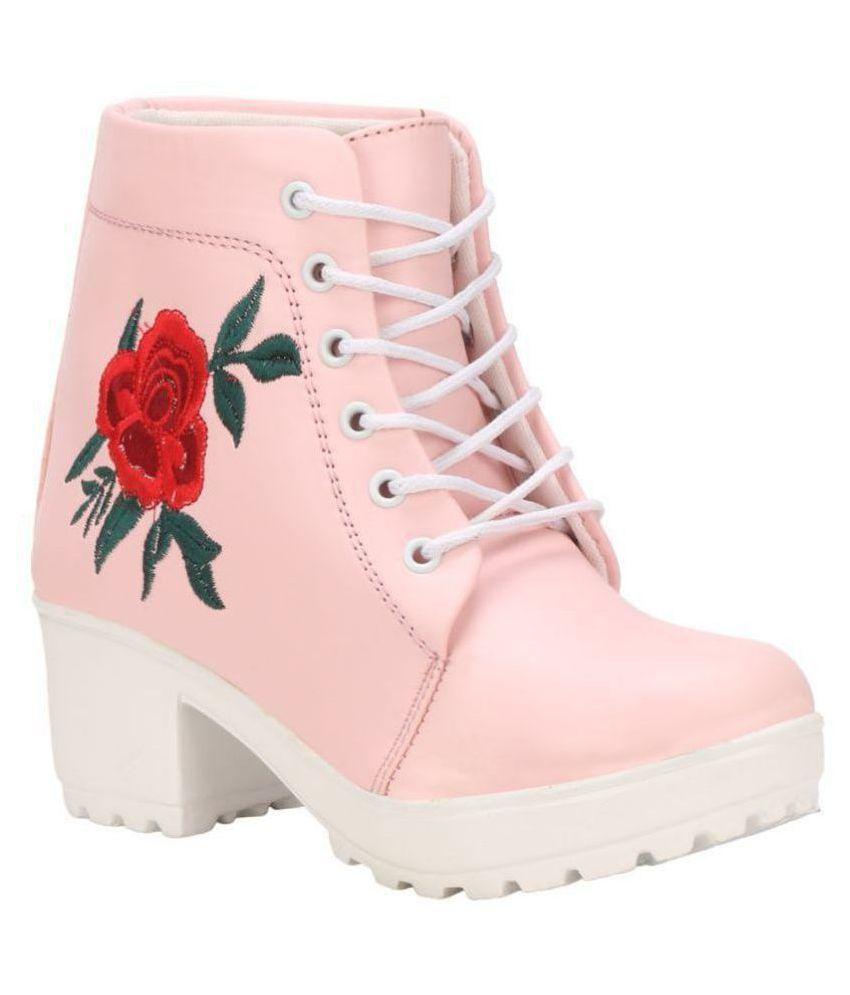 Saheb Pink Ankle Length Chukka Boots