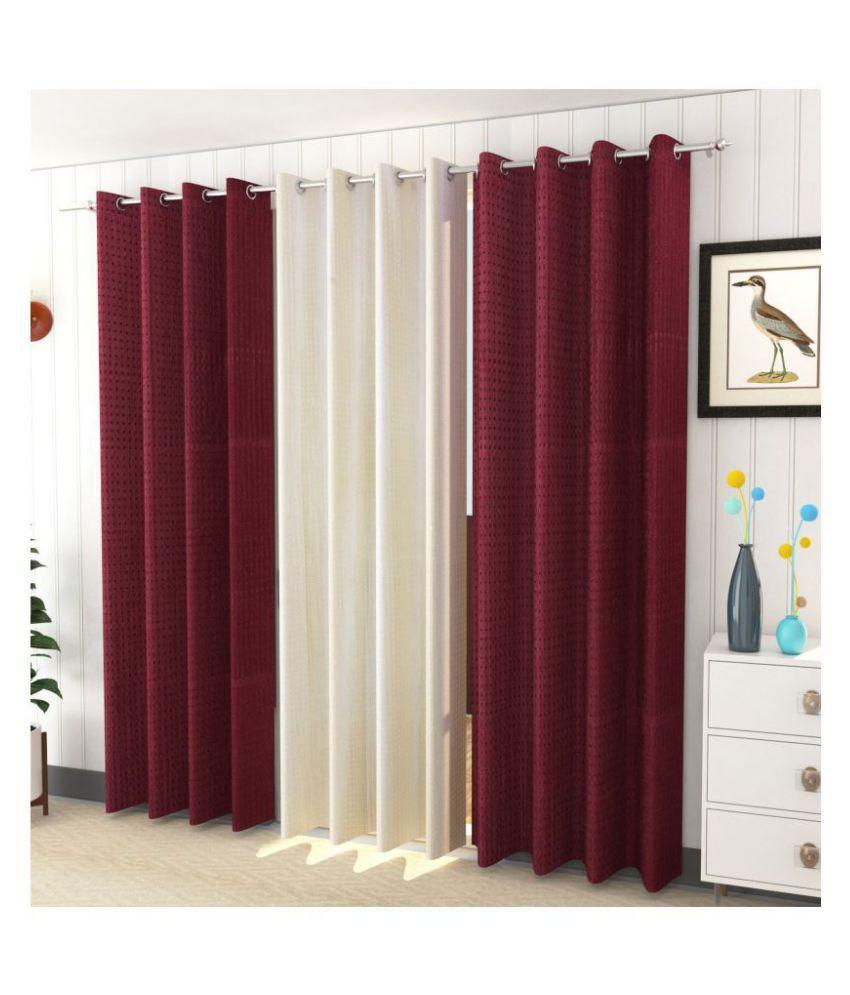 Sheen Decor Set of 3 Door Blackout Room Darkening Eyelet Polyester Curtains Multi Color
