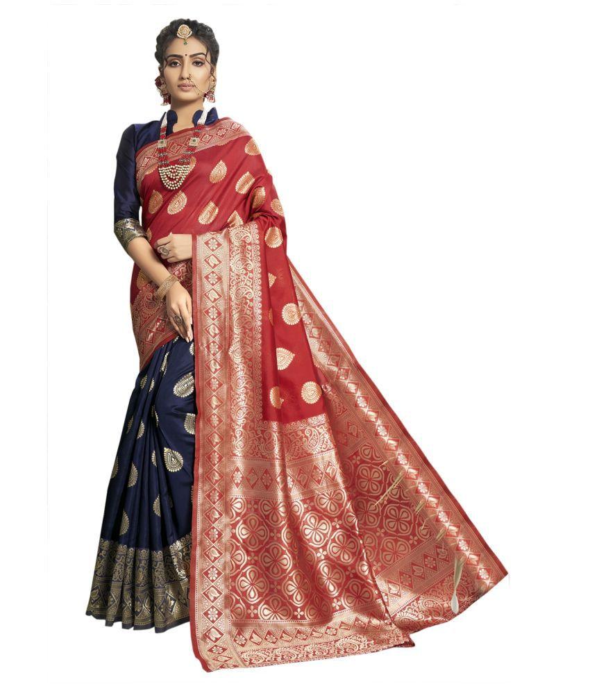 Triveni Blue Silk Blends Saree