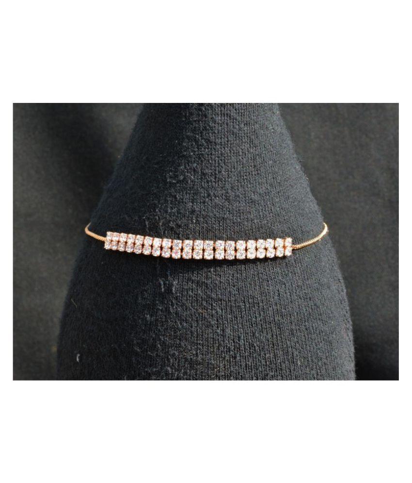 AsterriaCreation Sterling Srose gold Cubic Zircon Bracelet For Women & Girls