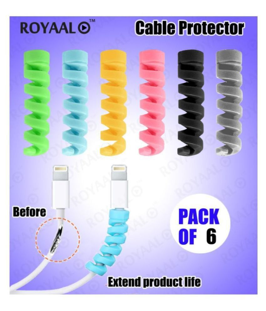 ROYAAL™ Spiral Charger Cable Protector Data Cable Saver Charging Cord Protective Cable Cover (6 Pieces)