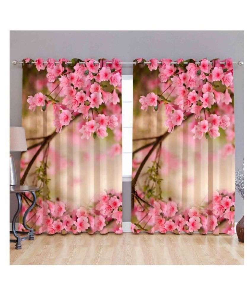 Fashion Alley Set of 2 Door Semi-Transparent Eyelet Polyester Curtains Pink