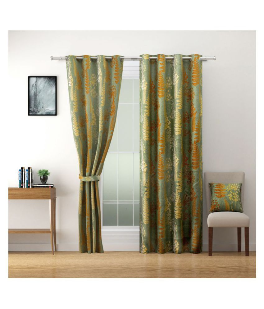 Swayam Set of 2 Window Blackout Room Darkening Eyelet Polyester Curtains Brown