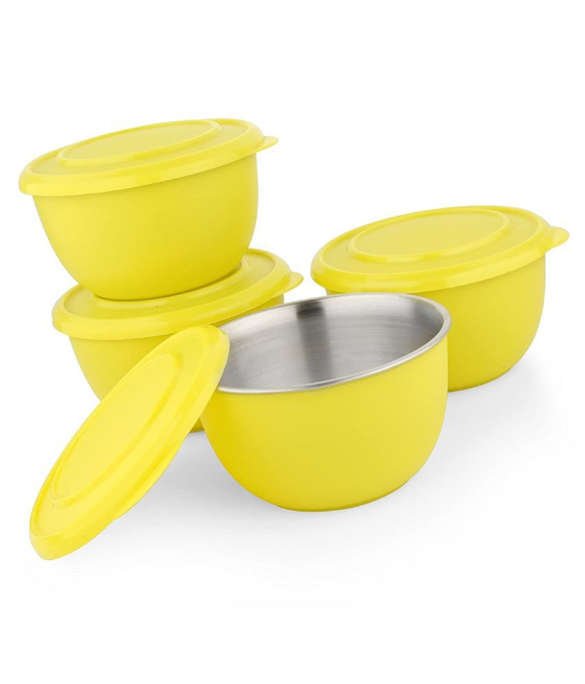 LIEFDE MICROWAVE SAFE STAINLESS STEEL SERVING BOWL YELLOW  SET OF 4  13 CM EACH