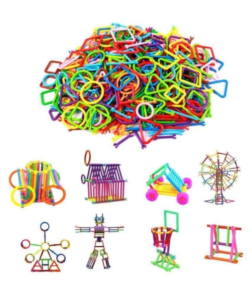 Toys Boutique 200 PCS+ Building Blocks Bars Different Shape Educational Construction Engineering Set 3D Puzzle, Interlocking Creative Connecting Kit,