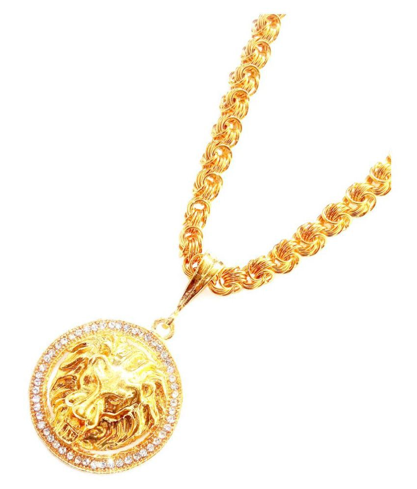 SHANKHJRAJ MALL GOLD PLATED PENDANT AND CHAIN FOR MEN OR BOYS-100375