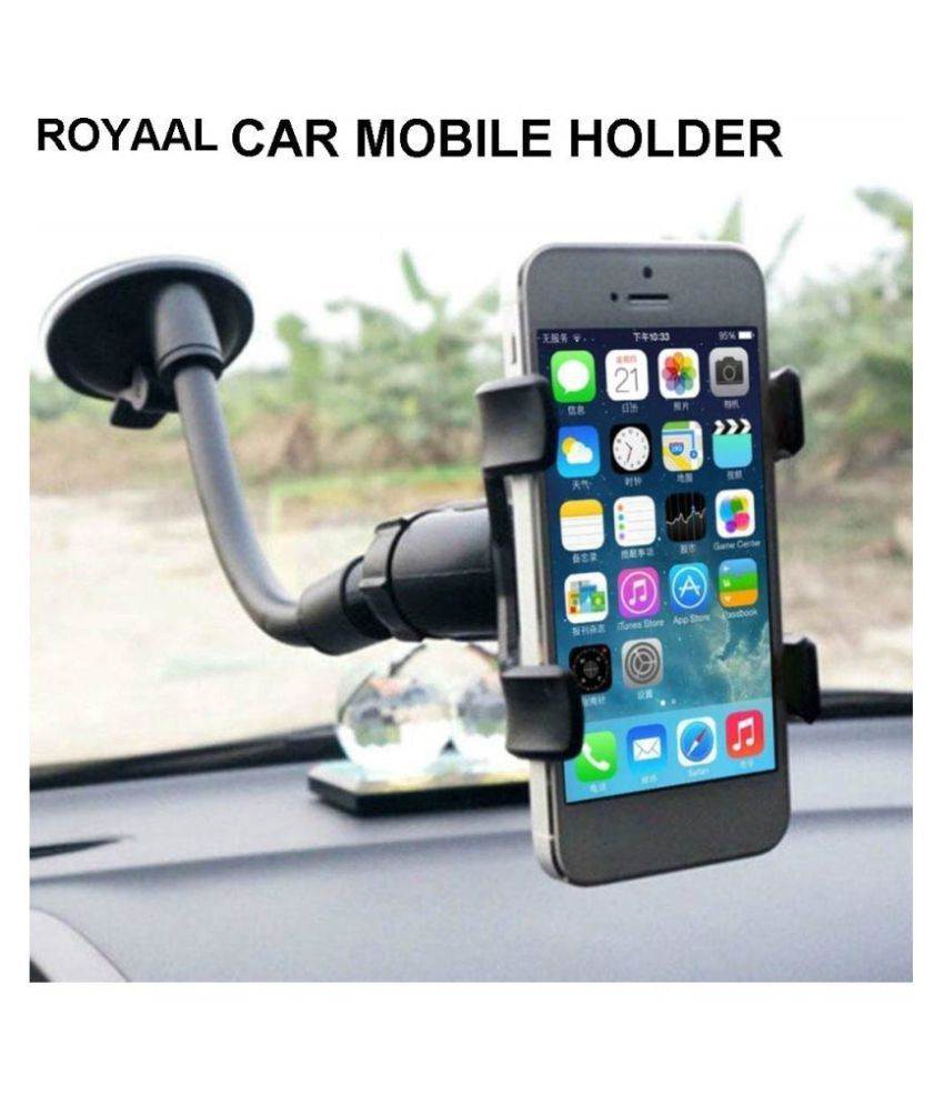ROYAAL Car Mobile Holder Double Clamp for Dashboard  amp; Windshield   Black