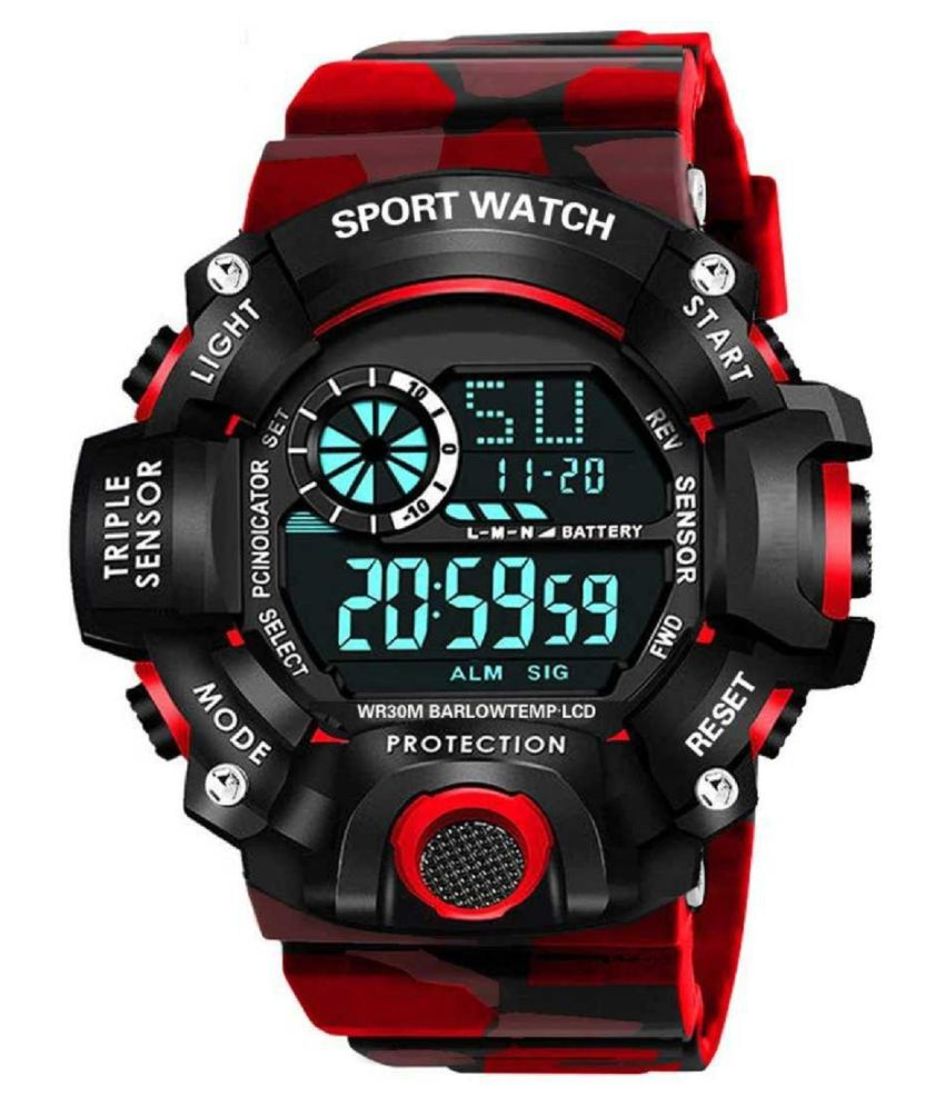 Viser Brand - A Digital Watch With Square Digital Shockproof Multi-Functional Red Color Army Strap Digital Sports Watch for Boys
