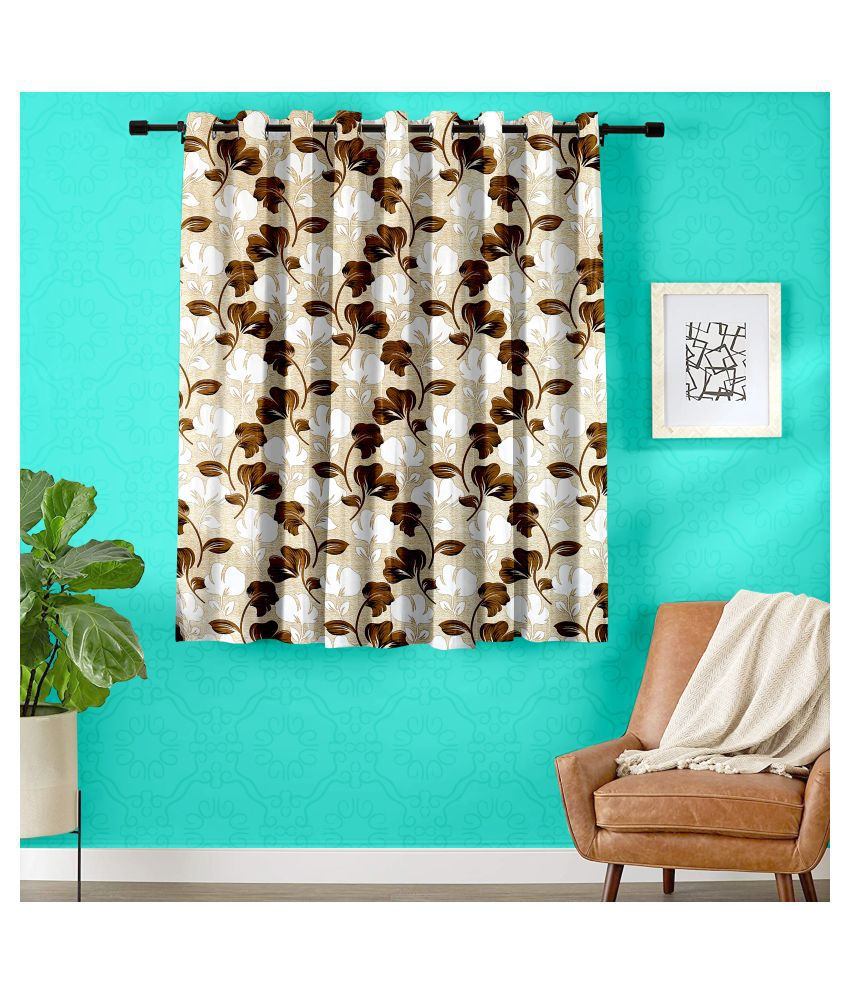 Hometique Single Window Semi-Transparent Eyelet Polyester Curtains Coffee
