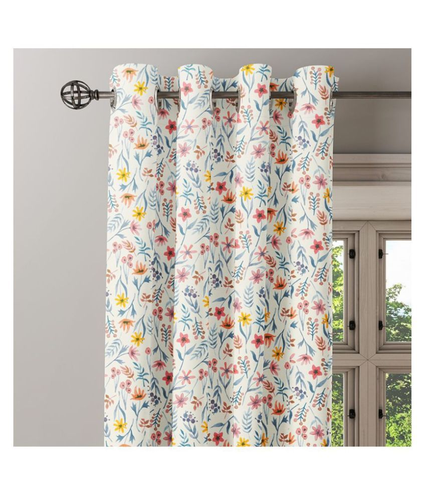 Ixora Decor Set of 2 Window Eyelet Cotton Curtains White