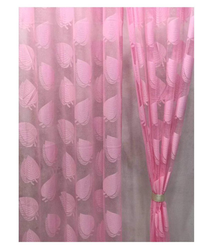 garg cotex pvt ltd Set of 2 Door Transparent Eyelet Polyester Curtains Pink