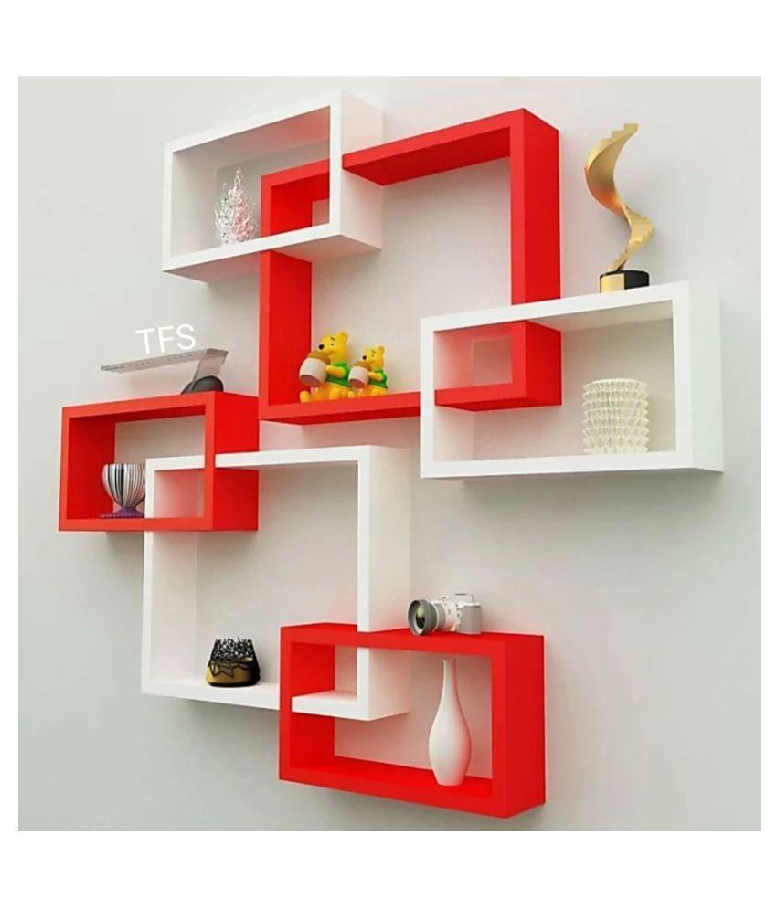 TFS Wall Mount Intersecting Wall Shelves Set of 6 Display Unit MDF (Medium Density Fiber) Red White