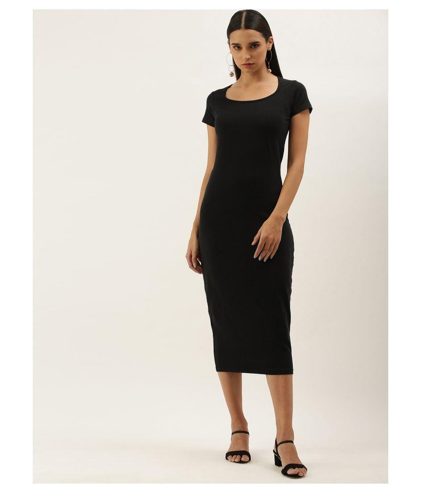 Dillinger Cotton Lycra Black Bodycon Dress - Single