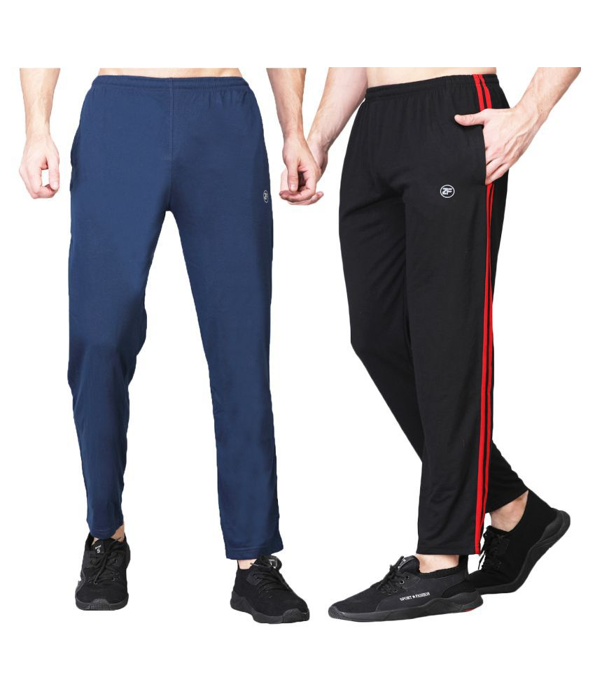ZIMFIT Men's Running Cotton Blend Blue&Black Trackpant's Pack of 2