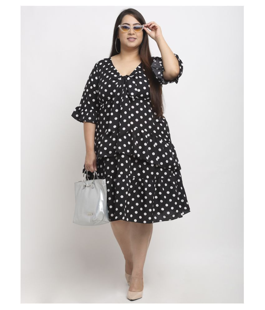 FLAMBEUR Polyester Black Fit And Flare Dress - Single