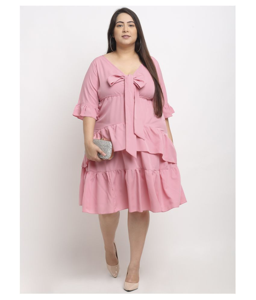 FLAMBEUR Polyester Pink Fit And Flare Dress - Single