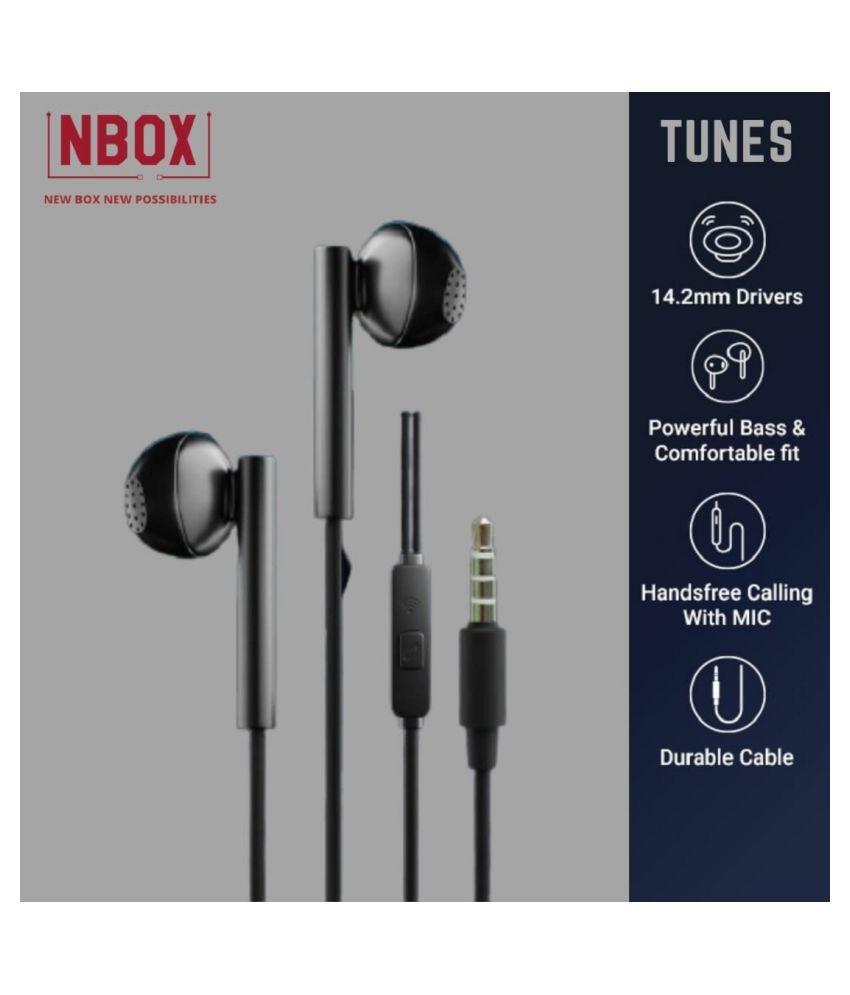 NBOX Premium Heavy Bass Earphone Black  In Ear Wired With Mic Headphones/Earphones
