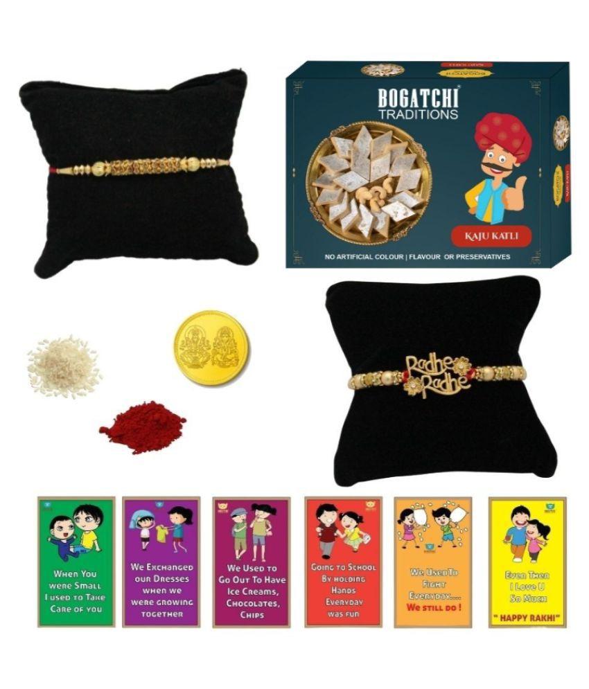 BOGATCHI Assorted Box Rakhi Gift for Brother|Rakhi with Sweets 200 gm