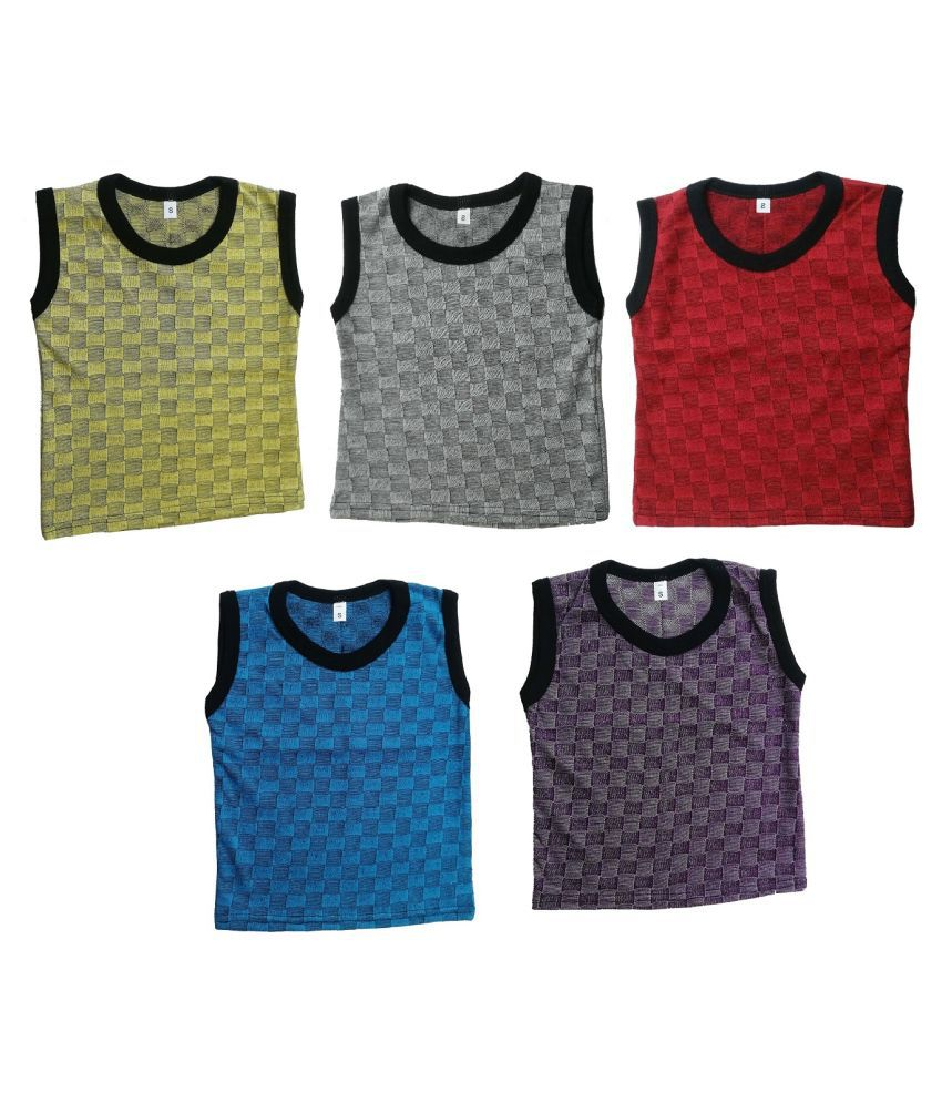 Vest For Baby Boys Cotton  (Multicolor, Pack of 5)