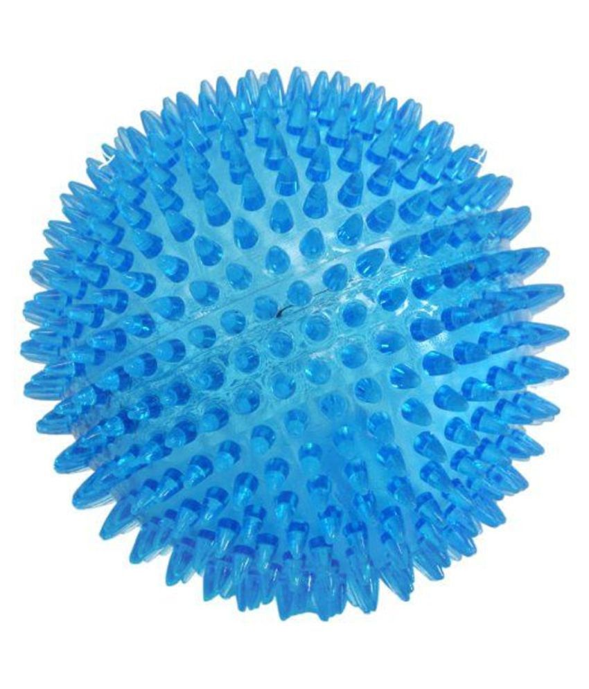 Joy Box Spiky Squeaker Dog Ball Toy Cleans Teeth & Promotes Good Dental & Gum Health for Your Pets (Color May Vary)